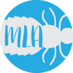 My Lice Advice icon. Blue background with the outline of a white louse. The initials MLA inside the louse