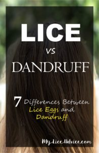 """A girl's hair is shown in the background with the words """"Lice vs Dandruff"""" and the rest of the title on a translucent black rectangle."""