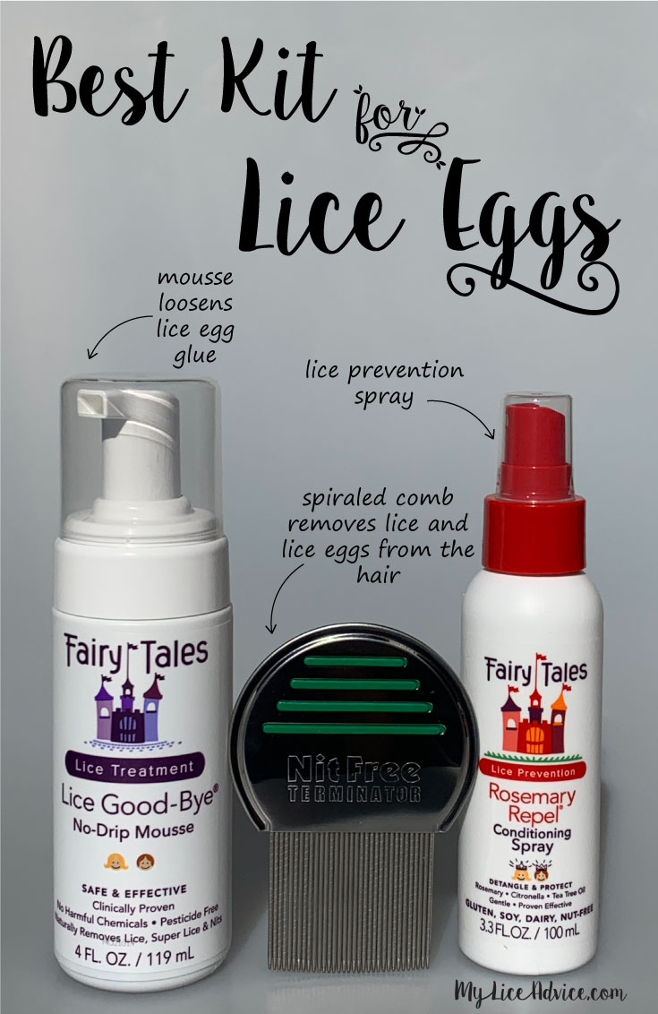 Best kit for lice eggs (nits) with arrows pointing to products