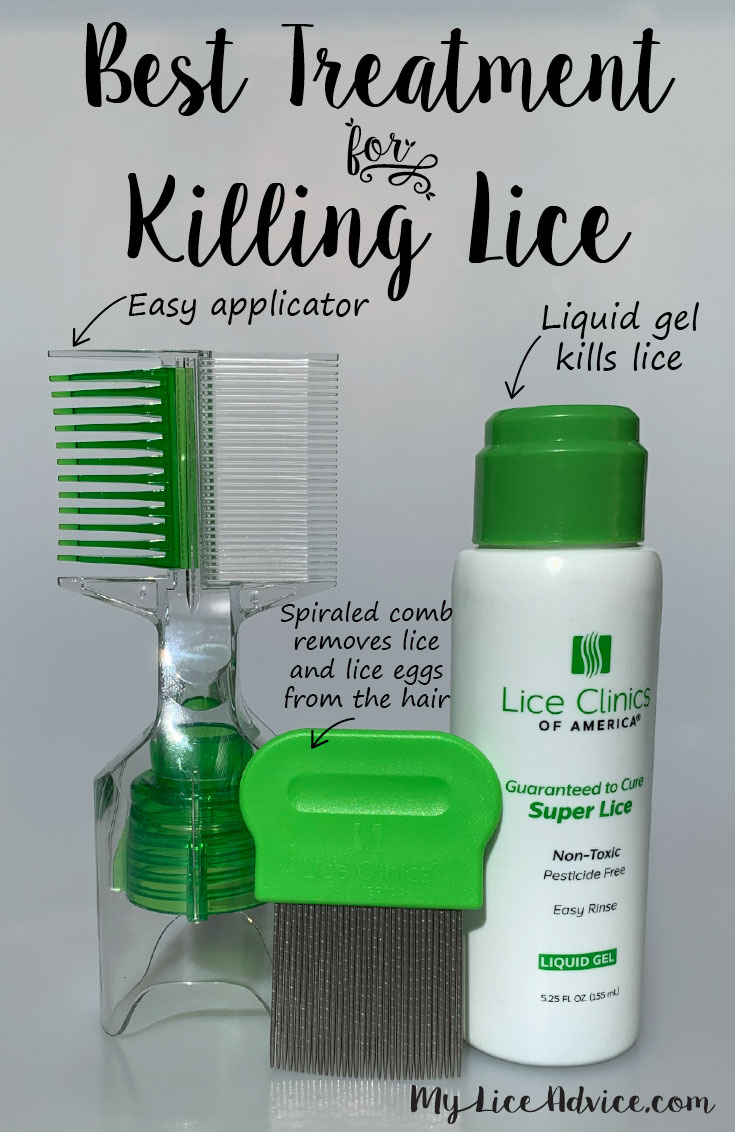 Best Treatment for Killing Lice with arrows pointing to the product