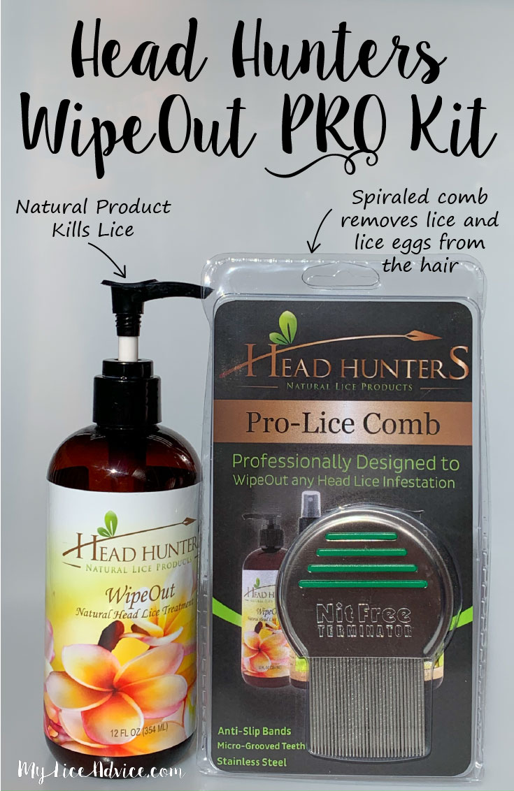 Head Hunters WipeOut Pro Kit with arrows pointing to product and comb