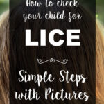 """The title text """"How to check you child for LICE. Simple Steps with Pictures"""" is shown in cursive against blond hair."""