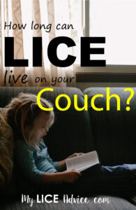 """A young girl is reading a book on a green fabric couch. There is a window in the back ground. The words """"How long can lice live on your couch"""" appear over the image."""