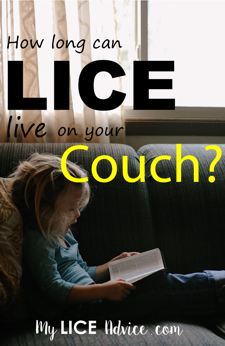"A young girl is reading a book on a green fabric couch. There is a window in the back ground. The words ""How long can lice live on your couch"" appear over the image."