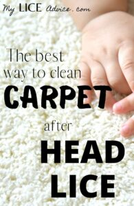 """A baby's hand is on top of white high pile carpet. The words """"The best way to clean carpet after head lice"""" are written over the image."""