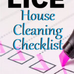 """A pink highligher is checking off boxes in a list. The words """"Ultimate lice house cleaning checklist"""" appear over the image."""
