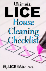 "A pink highligher is checking off boxes in a list. The words ""Ultimate lice house cleaning checklist"" appear over the image."
