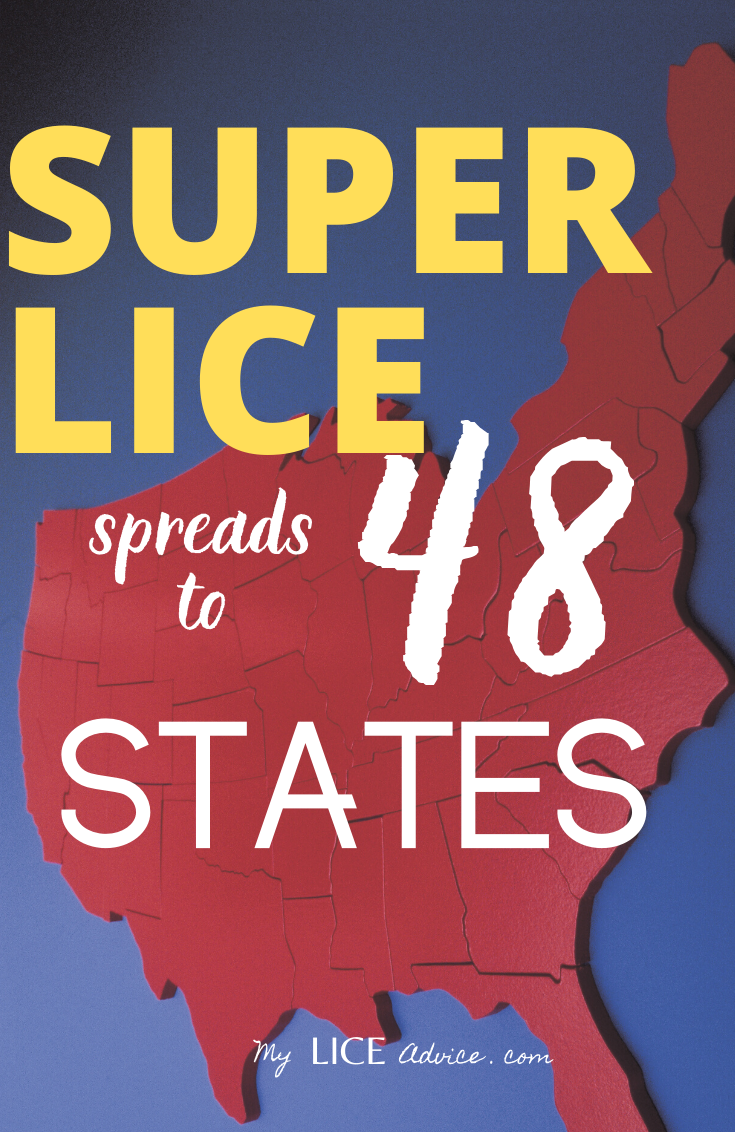 "An image of the contential united states. The background is blue and the states are red. The words ""super lice spreads to 48 states"" is superimposed on the image."