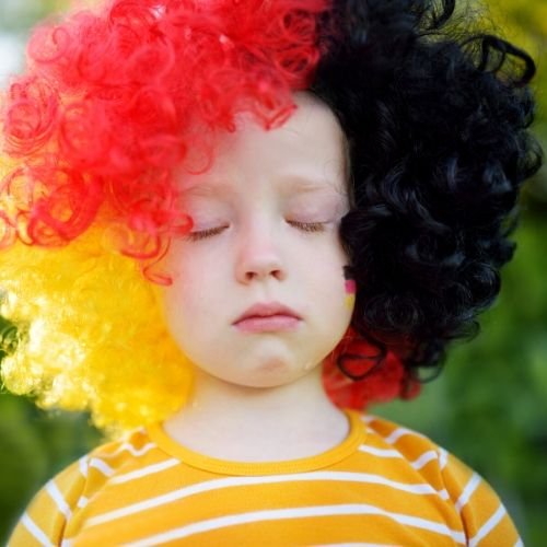sad girl clown wig