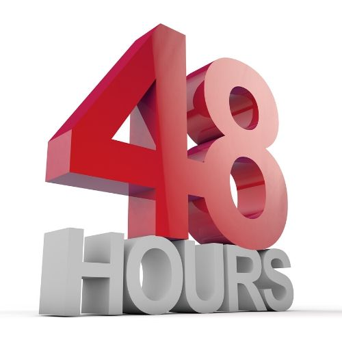 The number 48 in red on top of the word HOURS in white 3d letters.